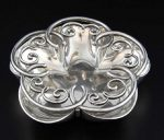 Edward VII silver pot pourri dish and cover in the form of a flower, by Alfred Clark
