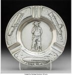 A Gorham Special Order Silver Cigar Ashtray with Pinkerton Detective Agency Motif, Providence, Rhode Island, circa 1920