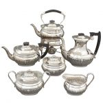 E. Viners Ltd., Six -Piece Sterling Silver Coffee and Tea Service with Ebonized Wood Handles Sheffield, circa 1947