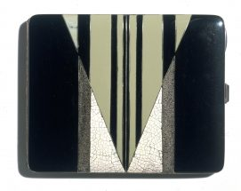 Slim rectangular case with hinged lid, decorated with a geometric pattern in green, black and white