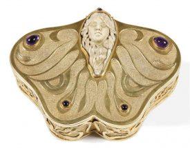A French Art Nouveau silver-gilt box and cover Circa 1900, maker's mark 'BERTRANDT'