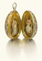 An egg-shaped silver-gilt and cloisonné enamel pendant icon, 11th Artel, Moscow, 1908-1917