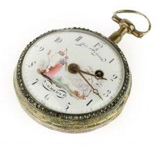 A gilt key wind open face pocket watch, Rigaud, Geneva, circa 1790