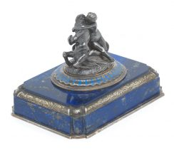 A French silver and lapis lazuli paperweight