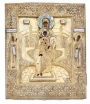 Russian Silver-Gilt and Enamel Icon of the Mother of God with Saints Anthony of Kiev and Theodosius of Kiev