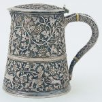 19th century Indian silver lidded tankard